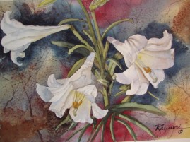 Easter Lillies watercolor painting by Oscar Rayneri